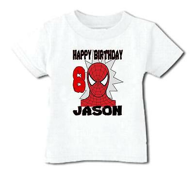 SPIDERMAN HAPPY BIRTHDAY T SHIRT Personalized Any Name Age Toddler To Adult