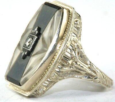 a61029f4d16e ... Art Deco Antique 14K White Gold Carved Camphor Glass Onyx Diamond Ring 3