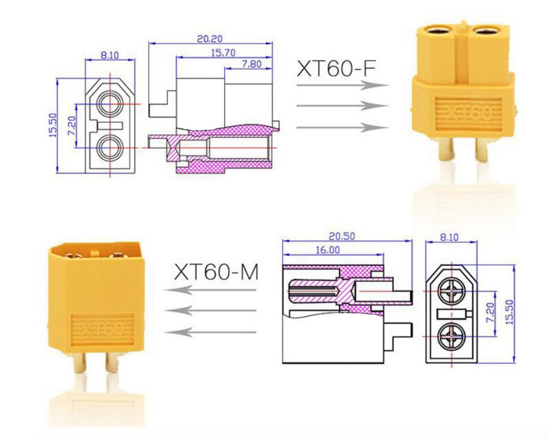 XT60 Goldstecker Lipo Akku Stecker Buchse + Schrumpfschlauch 1 2 3 4 5 10 20 60A 5