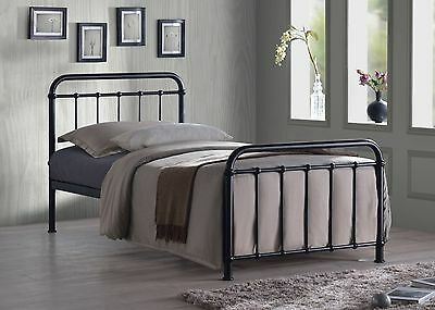 Miami Vintage Metal Bed Frame In Black Ivory Or Grey Finish Single Double King 6