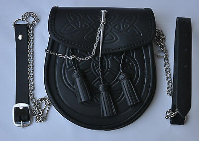 CELTIC EMBOSSED BLACK LEATHER LATCH PIN KILT SPORRAN With Belt and Chain 2