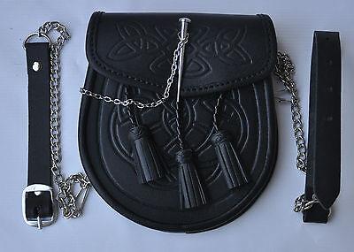 Celtic decorato nero pelle chiusura spilla Kilt Sporran con cintura e catena 2 • EUR 27,54