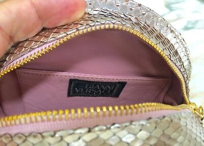 b43e40211536 ... GIANNI VERSACE COUTURE metallic pink snakeskin round evening bag w   chain Medusa 7