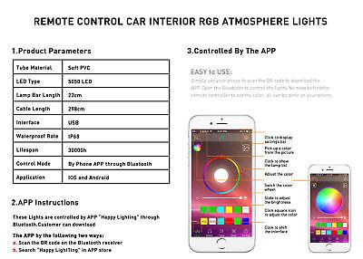 Car Rgb Usb Phone Control Led Interior Happy Light For Toyota Volkswagen Honda F Rainbowlands Lk