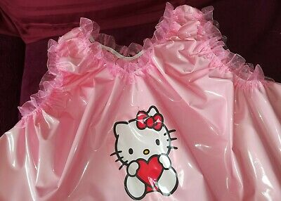 Adult Baby Set Pvc Slips+ Oberteil Gummihose Lack Windelhose Pants Hello Kitty 7