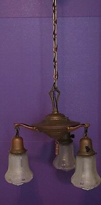 Original Brass Patina Three Light Fixture With Shades Wired Antique Light Great! 4