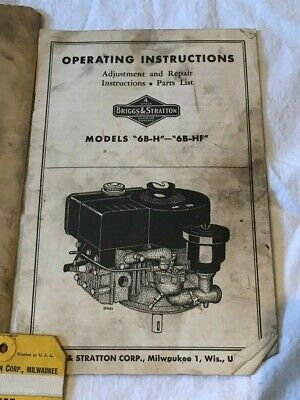 Vintage Briggs & Stratton Engine Operating Instructions Booklet Model 6B-H 6B-HF 3