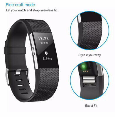 Fitbit Charge 2 Band Various Silicone Band Replacement Wristband Watch Strap New 6