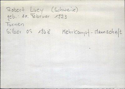 Robert Lucy Schweiz Olympia Silber 1948 Turnen Mehrkampf orig. Autograph (B-9386