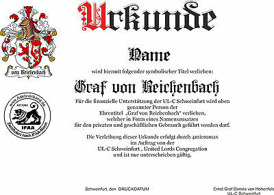 Adelstitel = GRAF / GRÄFIN von REICHENBACH = Fürst Herzog  Freiherr Baron 9