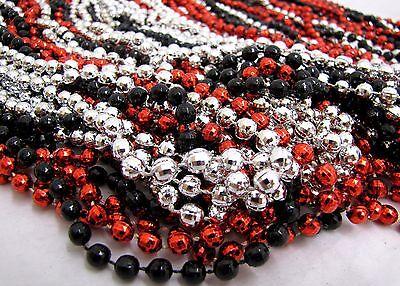 Mardi Gras Beads Black Red Silver Disco 6 dozen Throw 33 in Necklaces 72 Strands 2