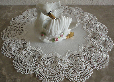 """Classic Rose Lace Doily European Round 16"""" Table Topper Antique White 4"""