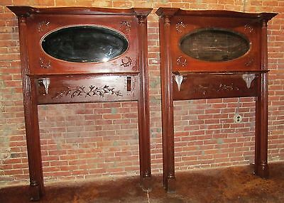 Rare Pair Of Victorian Carved Mantles With Mirrored Galleries 5