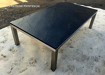 Couchtisch Beistelltisch Natursteinplatte Schiefer Schwarz