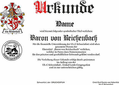 Adelstitel = GRAF / GRÄFIN von REICHENBACH = Fürst Herzog  Freiherr Baron 2