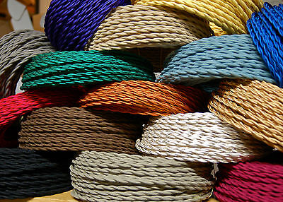 8' Twisted Cloth Covered Wire & Plug, Vintage Light Rewire Kit, Lamp Cord, rayon 4