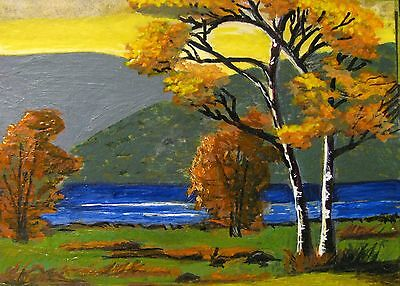 """A444 Original Acrylic Art Aceo Painting By Ljh One-Of-A-Kind """"Ireland Landscape"""" 8"""