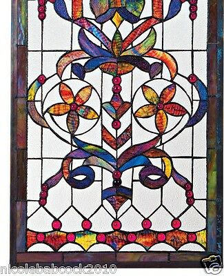 4 Foot European Antique Style Manor Estate Stained Glass Window Panel Authentic 5