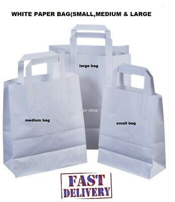 Brown or White Kraft Paper SOS Flat Handle Party Paper Bags Takeaway Loot Gifts 7