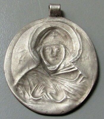 10th - 12th c. AD LATE BYZANTINE SILVER MARY MOTHER OF GOD THEOTOKOS PENDANT 4