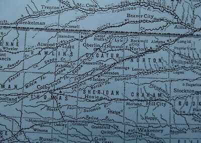 Vintage Map: Kansas, United States, by Emery Walker, 1926, B/W 3