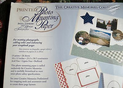 Creative Memories 10x12 Printed Photo Mounting Paper 13 Prints/26 Sheets NIP