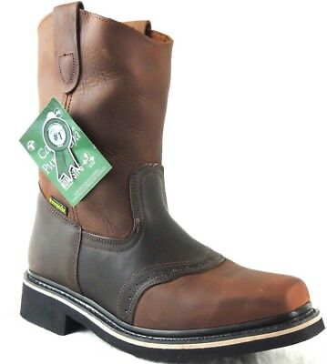Men's Work Boots Genuine Leather Strap Square Pig Toe Rodeo Brown Mango Cowboy 4