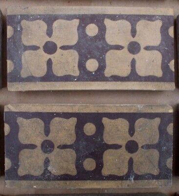 "Antique Victorian Gothic Minton Encaustic Floor Border Tile 6"" x 3"" RARE 1 of 36 2"