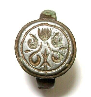 Ancient Rare Medieval bronze pseudo heraldry finger ring seal 2