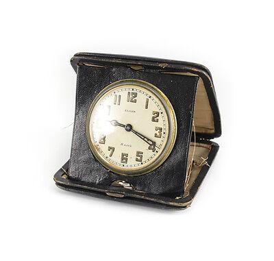 American Elgin 8 Day Travel Clock Keystone case body Gilt silveroid Leather case 2