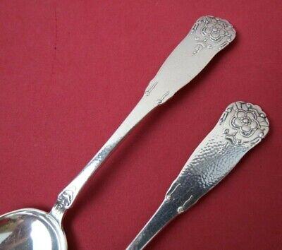 "2 MAGNUS AASE Norway 830S Sterling Silver HARDANGER Lg Oval Soup Spoons 7 7/8"" 7"