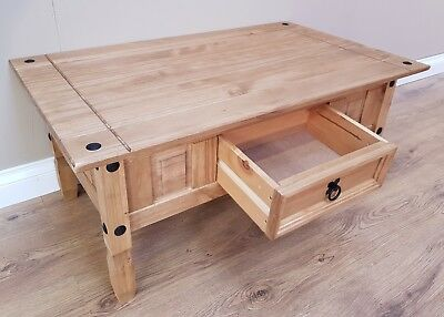 Corona Coffee Table Mexican Solid Pine 1 Drawer Livingroom by Mercers Furniture® 8