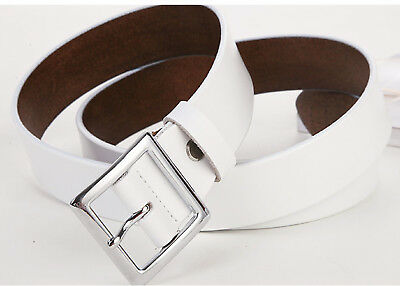 Women's Jean Belt, Classic Square Buckle Handcrafted Genuine Leather Belt 12