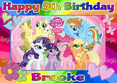 1 Of 2FREE Shipping Edible My Little Pony Rainbow Letters Personalised A4 Icing Birthday Cake Topper