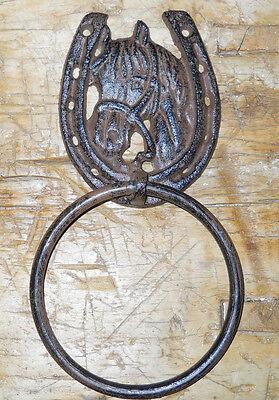 Cast Iron Antique Style Rustic HORSE Door Knocker WESTERN COWBOY TOWEL RING 2