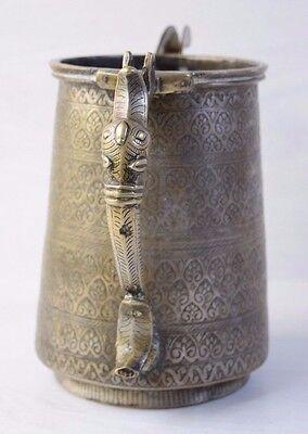 Antique 18C. Arabic OTTOMAN Calligraphy Religious Engraved Vessel Jug Pitcher 2