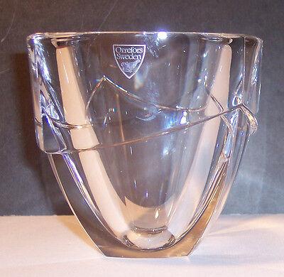 Signed Sticker Orrefors Crystal Art Glass Sweden Vase Bowl