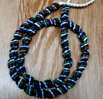 """Rare 23"""" 43 Bead Ancient Phoenician Spiral Spiral Colorful Opaque Glass Necklace 4"""