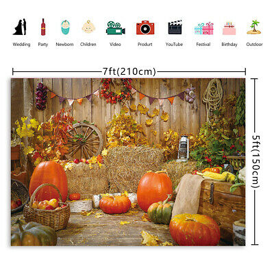 DaShan 8x6ft Polyester Maple Leaves Fall Thanksgiving Backdrop Rustic Wood Pumpkins Autumn Harvest Party Autumn Farm Event Fall Theme Party Photography Background Autumn Foliage Party Photo Props