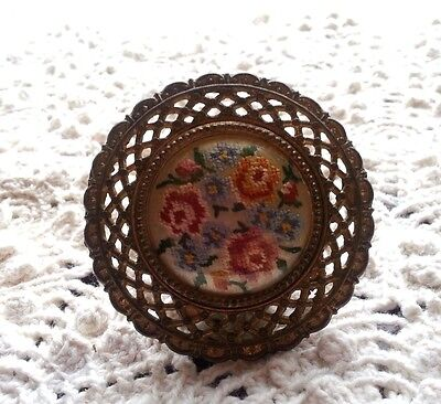 Large Embroidered Antique Hardware DrawerPull Circa 1908 Handstitched Embroidery 2