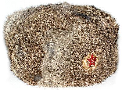5e21505ebc2c5 ... Genuine Brown Rabbit fur Russian ushanka winter hat Trapper Bomber  w Ear Flaps 2