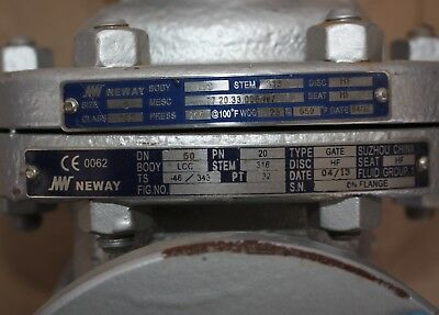"NEWAY GATE VALVE LCC 2"" inch class 150 DN50 50mm WCB Manual 159H1 373R4 7"