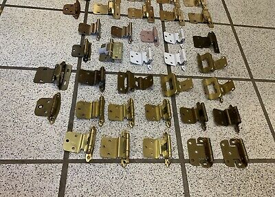 43 Cabinet Door Hinges Self Closing Antique Polished Brass Tan White Vintage 7