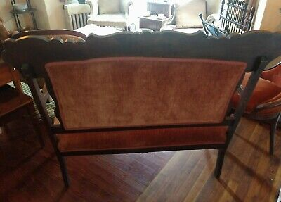Antique Victorian Orange Velvet Eastlake Parlor Settee - LOCAL PICK UP ONLY 4