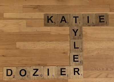 PERSONALIZED HAND CUT LARGE WALL ART SCRABBLE TILES - FINISHED WOOD 4in x 4in