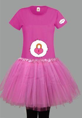 Kostüm für Glücksbärchi Fans Damen T-Shirt Tütü/Rock Gruppenkostüm Karneval JGA 9