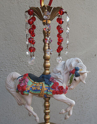 1 Porcelain Horse Carousel Lamp SWAG kids room Chandelier Vintage Crystal Rose 8