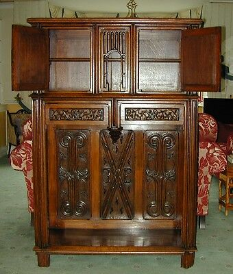 An Antique Gothic cabinet with outstanding carving 3
