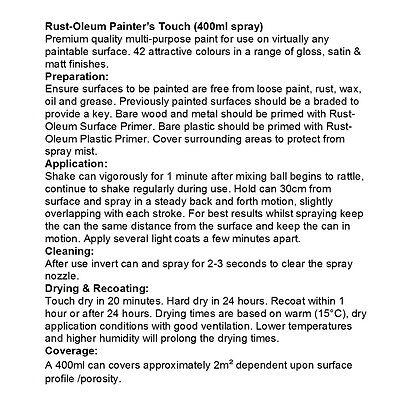 Rust-Oleum Painter's Touch Aerosol Spray Paint Satin Gloss Matt FREE RETURNS 5