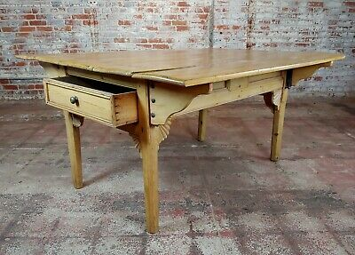 19th century French Farmhouse Pine Drop Leaf Dining Table 6